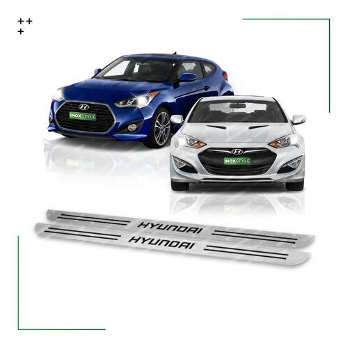 Kit 2 Cubre Zócalos Protector Para Hyundai Genesis Veloster Coupe Molduras Acero Inoxidable Juego De Accesorios X2