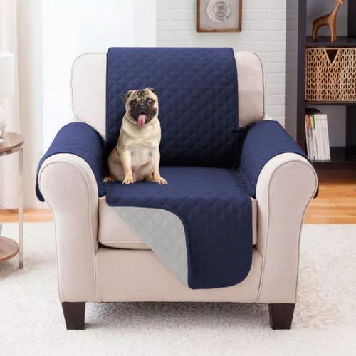 Protector De Sofa 1 Puestos Doble Faz Azul Oscuro - Gris
