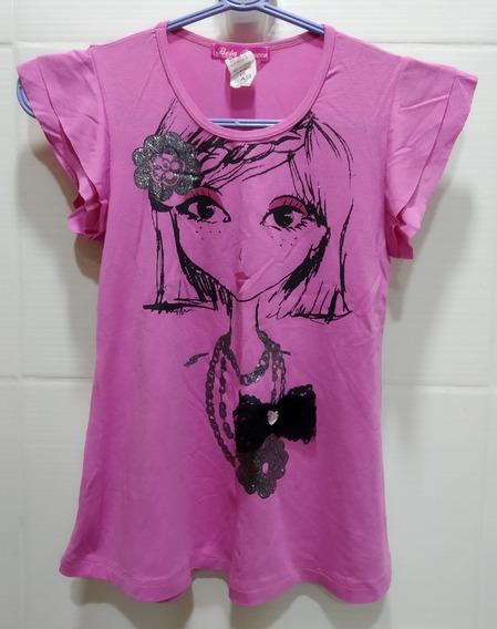 Remera Nena Modal Rosa Oscuro Estampa C/gliter Y Aplique T10