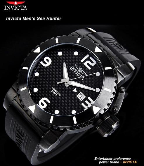 Relogio Invicta Original Masc Preto Sea Hunter Fibra Carbono
