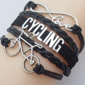 Pulseira Feminina Masculina Bicicleta Ciclismo Preta