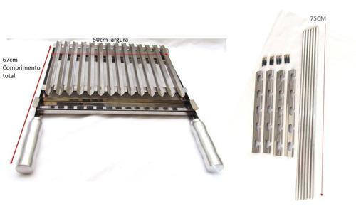 Imagem 1 de 6 de Grelha Argentina Inox 50cm + Apoios Com Barra Maciça 75cm
