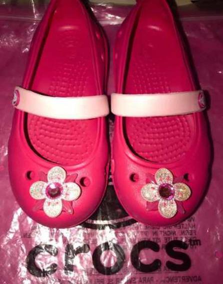 Crocs Originales Para Nena Fuxias Con Flor Divinas ! C8 / 24