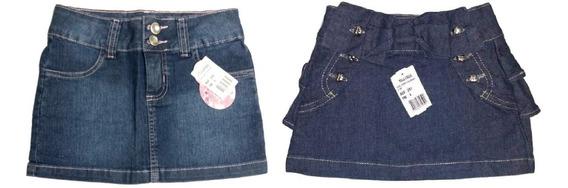Kit 2 Saias Jeans Infantil Feminino Roupa Menina Mini Saia