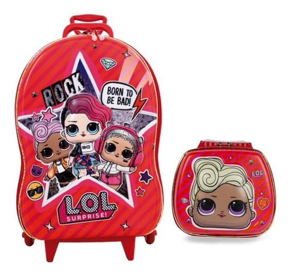 Kit Mochila 3d Infantil Rodinhas E Lancheira Lol Rocker