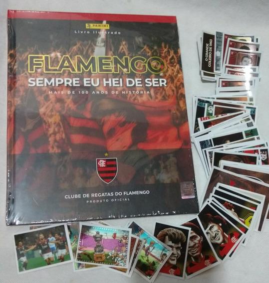 Álbum Capa Dura Do Flamengo + 100 Figurinhas Sem Repetição.