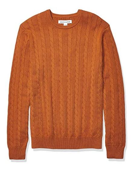 Essentials Men S Crewneck Cable Cotton Sweater