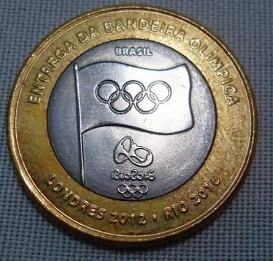 Moeda Entrega Da Bandeira Olimpica Rio 2016