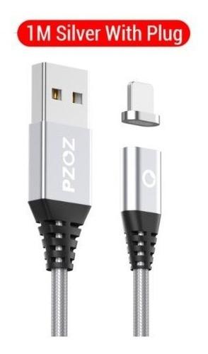 Imagen 1 de 6 de Cable Plata Magnético iPhone  Micro Usb, Cargador