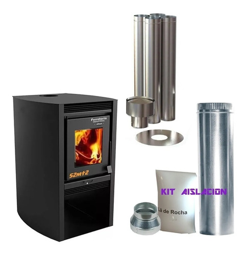 Calefactor Leña Doble Combustion Metavila 52mt2 Inst. Techo