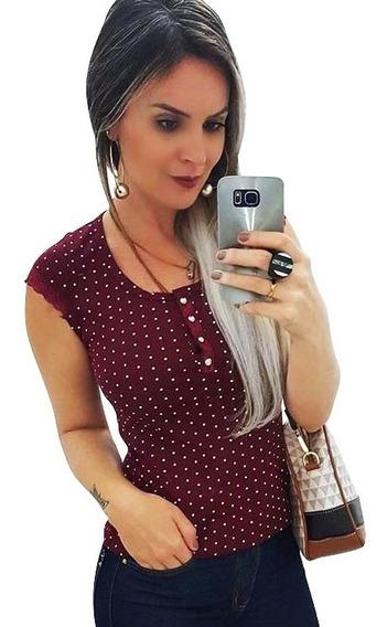 Blusas Femininas Blusinha T-shirt Malha Canelada Verão