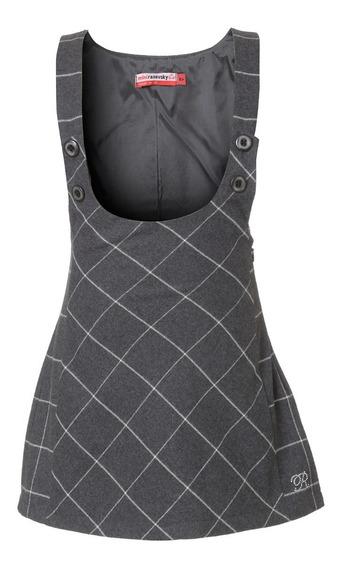 Vestido Niña - Overol Cuadros Gris Talla 6, 8, 10, 12, 14 (importado- Nuevo Con Etiquetas)