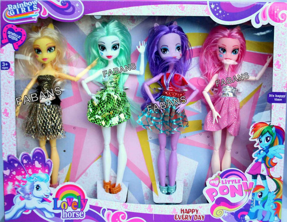 4 Muñecas My Little Pony Set Equestria Girl Juguetes Niña