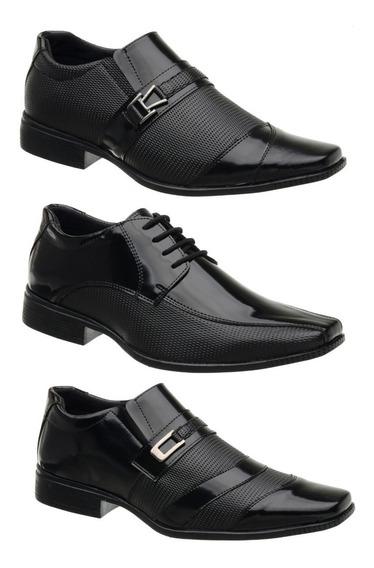 Kit 3 Pares Sapato Social Masculino Preto Verniz Confortável