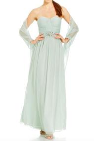 Vestido Adrianna Papell De Chiffon Color Menta Strapless T10