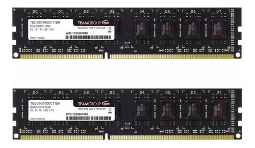 Memoria Ram 16gb Teamgroup Elite Ddr3 Kit (2 X 8gb) 1600mhz (pc3-12800) Cl11 Unbuffered Non-ecc 1.5v Udimm 240 Pin Pc Co