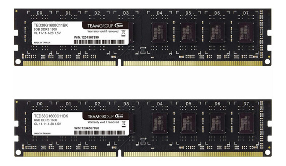 Memoria Ram 16gb Teamgroup Elite Ddr3 Kit (2 X 8gb) 1600mhz (pc3-12800) Cl11 Unbuffered Non-ecc 1.5v Udimm 240 Pin Pc Co