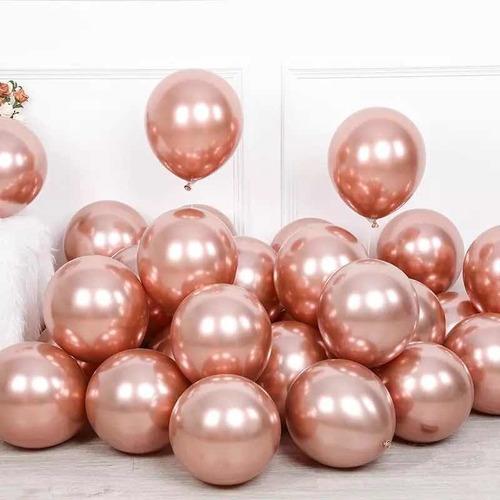 Imagen 1 de 3 de Globos Cromados Metalizados Rosa Oro X 50 U - Fiesta