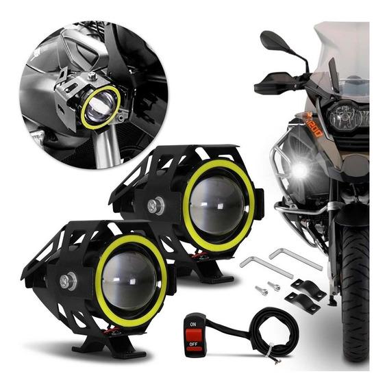 Par Farol Moto Xj6 Xre Cg Titan Fan Universal Xenon + Botão