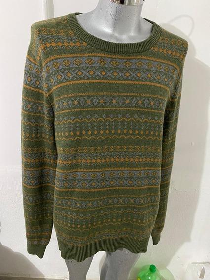 Sweater Merona Verde Musgo En Cuello Redondo