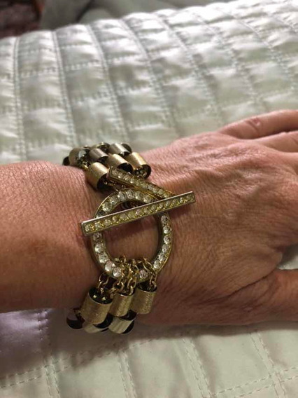 Pulseira Dourada Com Cristais Semi Joia