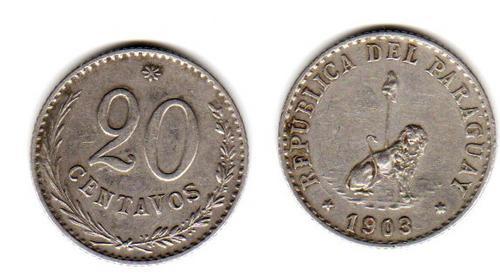 Moneda De Paraguay Año 1903 De 20 Centavos Muy Buena-