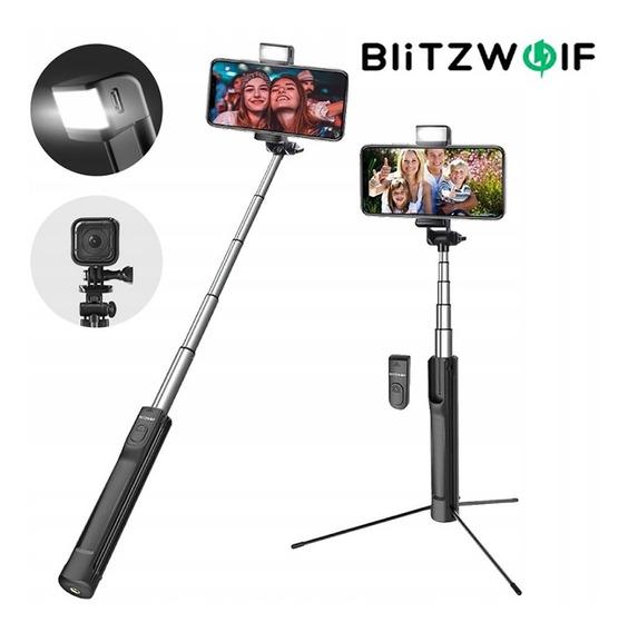 Pau De Selfie Com Flash Led Tripe Bluetooth Blitzwolf Bs8
