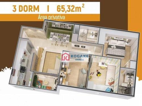 Apartamento Com 3 Dormitórios À Venda, 65 M² Por R$ 334.950,00 - Parque Residencial Flamboyant - São José Dos Campos/sp - Ap7420