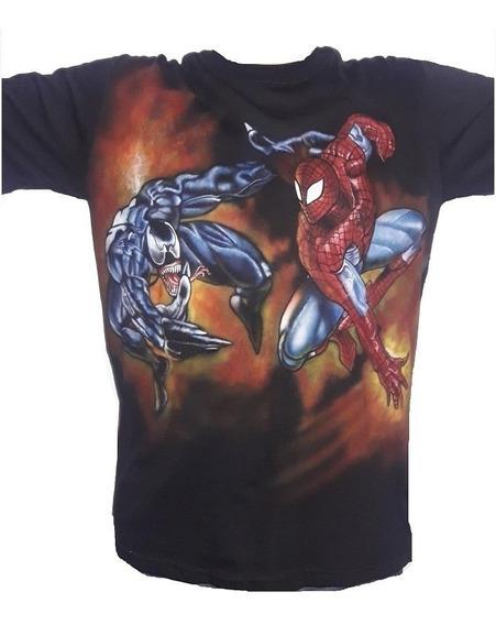 Spider Man Aerografia Remera Talle L