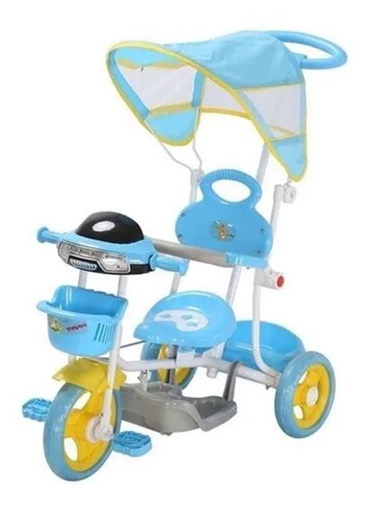 Triciclo Infantil De Pedalar Azul C/ Cesta E Luzes Importway