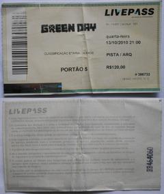 Green Day Ingresso Show Porto Alegre Gigantinho Out 2010