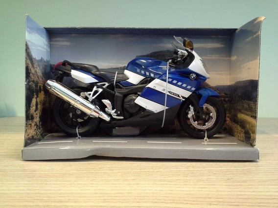 Miniatura Moto Bmw K1200s Azul E Branca Escala 1:12 (17 Cm)