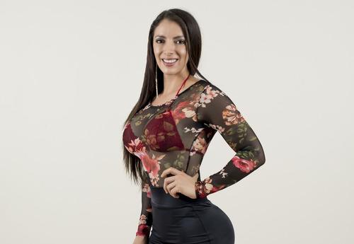Imagen 1 de 5 de Body Flores Transparente Sexy Lenceria O Fiesta  De Moda Licra Stretch Envio Gratis