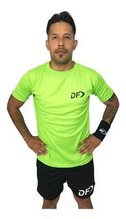 Remera Verde + Short Conjunto Deportivo Padel Tenis