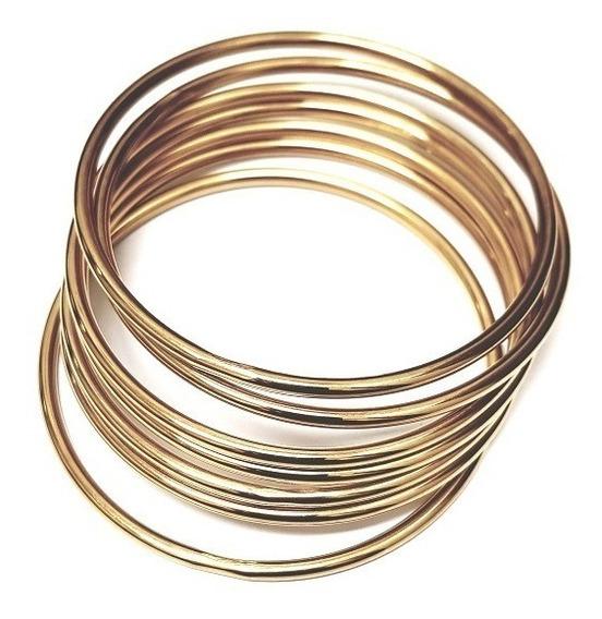 Conjunto Com 7 Braceletes Rígidos Em Aço Modelo Argolas
