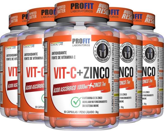 Kit 5x Vitamina C 1000mg + Zinco 7mg 60 Cáps (300) Profit
