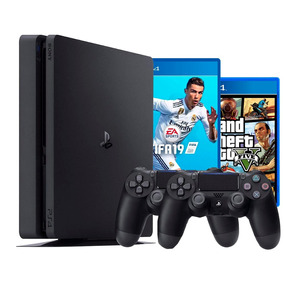 Playstation 4 Ps4 Slim 500 Gb 2 Controles + Fifa 19 + Gta V