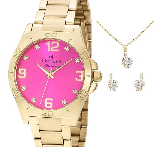 Relógio Champion Feminino Dourado E Rosa + Kit