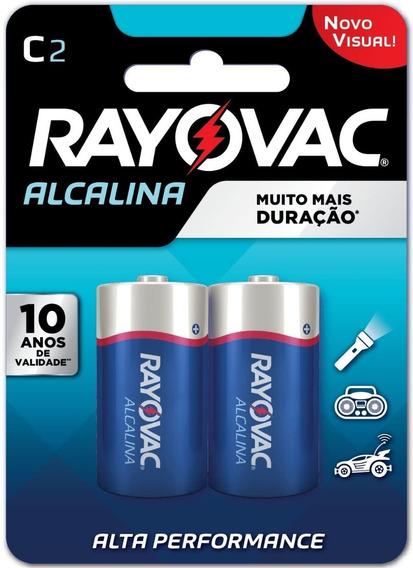 Pilhas Rayovac Alcalina C2 Longa Duração Alta Performance