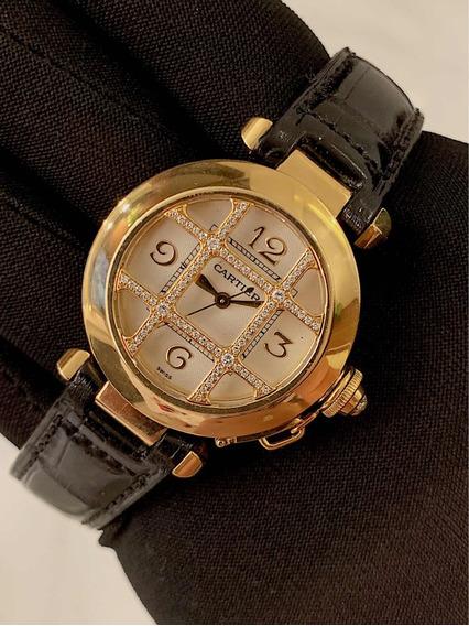 Cartier Pasha Lady De Ouro Amarelo Com Diamantes ! Completo