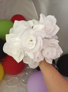 Ramo 5 Flores Artificiales Blanco Puro Decoración Amyglo