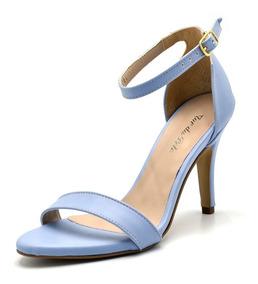 Sandália Social Azul Claro Feminina Salto Médio Serenit 1725