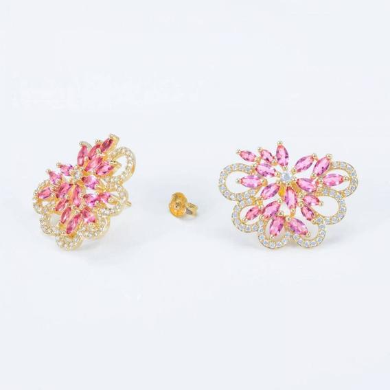 Brinco Flor Quartzo Rosa Cravejado De Micro Zircônias Luxo F