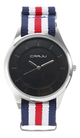 Crrju - Reloj Unisex, Correa De Nailon, Cuarzo, Reloj De Pul