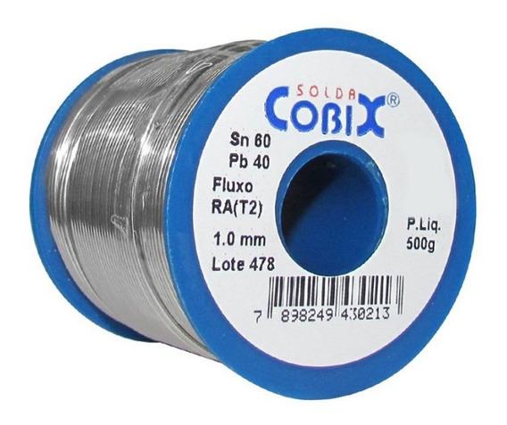 Solda Estanho Cobix Azul 60x40 Fluxo Ra 1.0mm Rolo De 500g