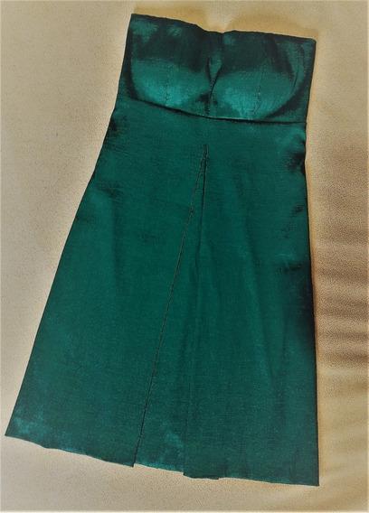 Lindo Vestido De Festa Em Tafetá Verde Com Estola