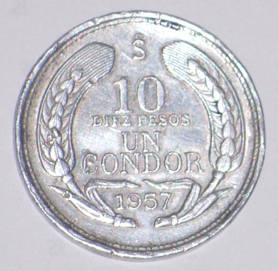 Chile Moneda De 10 Pesos Año 1957 Un Condor