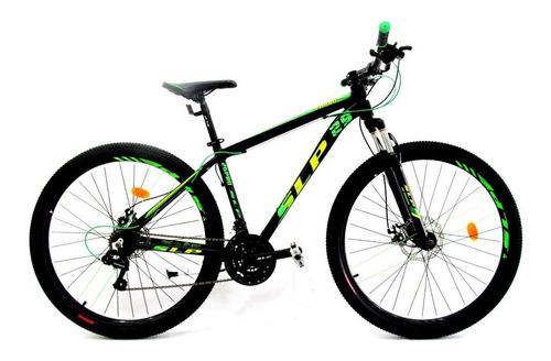 """Mountain bike SLP 25 Pro R29 18"""" 21v frenos de disco mecánico cambios Shimano Tourney TZ31 y Shimano Tourney TZ500 color negro/verde"""