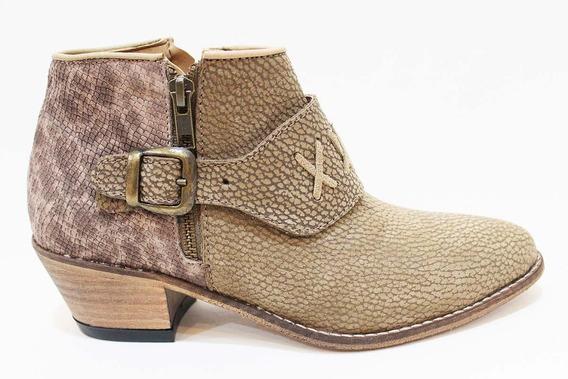 Zapato Bota Texano Cuero Mujer Art 40. Marca San Marino