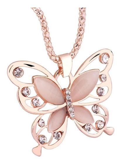 Colar Com Pingente Borboleta Feminino Elegante Luxo Rose
